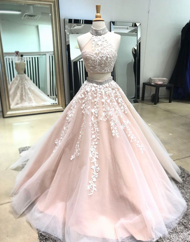 Champagne two pieces lace applique tulle long prom dress, evening dress
