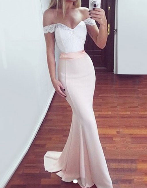 Cute off shoulder lace mermaid long prom dress, bridesmaid dress