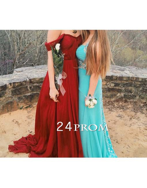 Sweetheart Dark Red Chiffon Long Prom Dresses, Formal Dresses