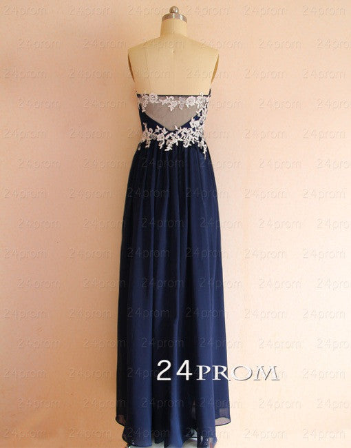 Deep blue A-line Lace Long Prom Dress, Formal Dress