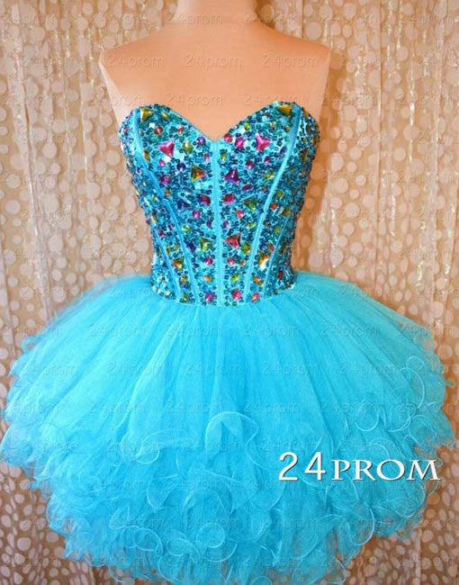 Blue Ball Gown Tulle Short Prom Dresses,Homecoming Dresses