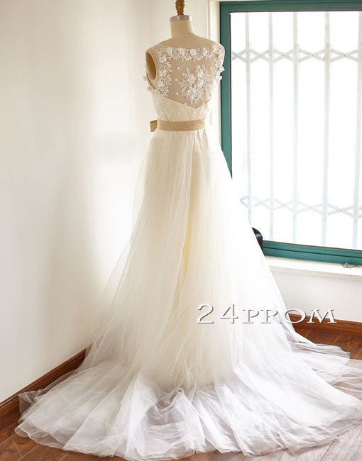 A-line V Neck Lace Tulle Long Prom Dresses, Wedding Dresses