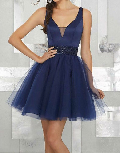 Simple dark blue v neck tulle short prom dress, blue homecoming dress