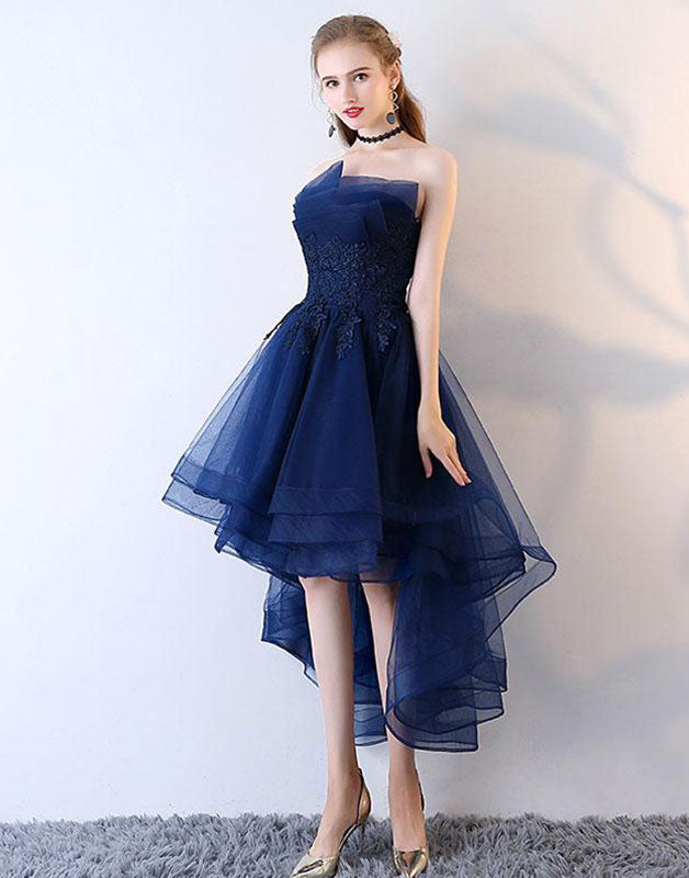 Dark blue tulle lace short prom dress, blue lace homecoming dress