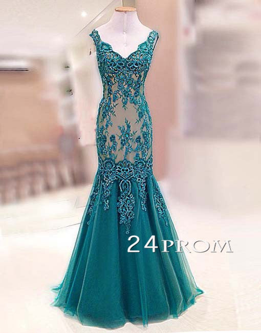 Green Tulle Lace Long Prom Dresses, Formal Dresses