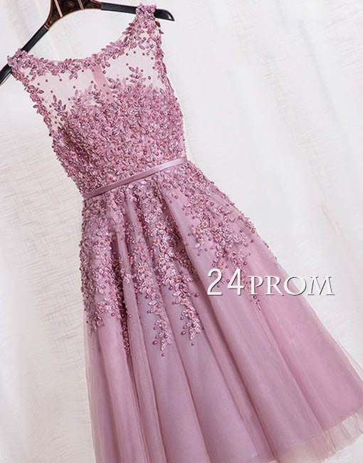 Custom made round neck tulle lace short prom dress, bridesmaid dress