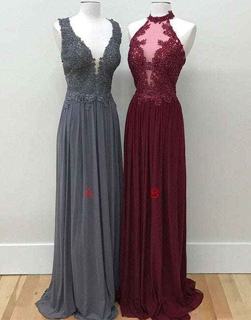 Unique lace chiffon long prom dress, formal dress