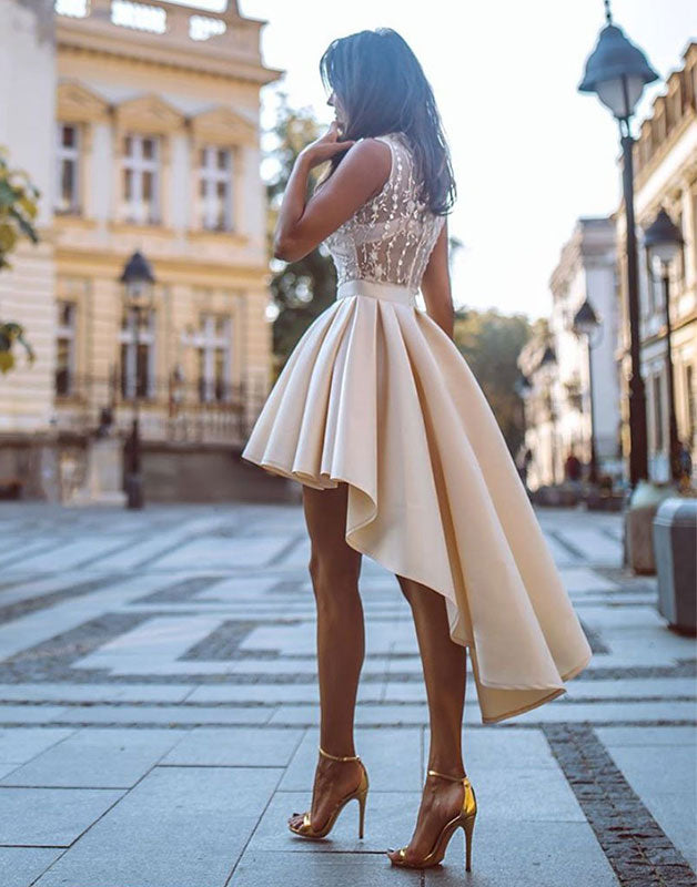 Champagne lace high low prom dress, homecoming dress