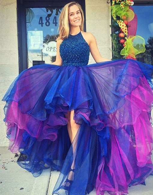 Custom made round neck high-low prom dresses, evening dresses