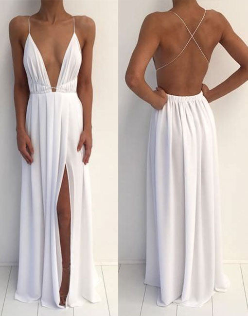 White backless prom dress, white evening dress