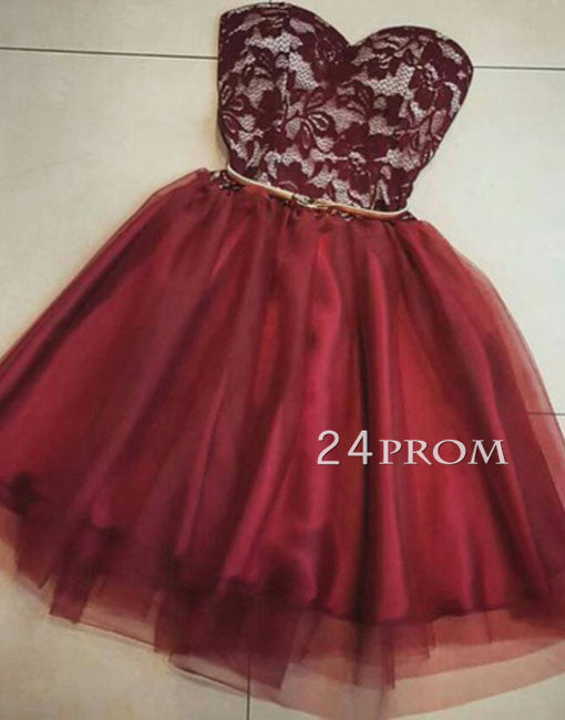 Sweetheart burgundy Tulle lace short prom dress, homecoming dress