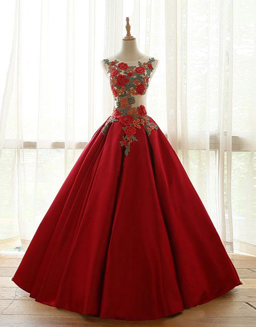 Burgundy round neck applique long prom dress, evening dress