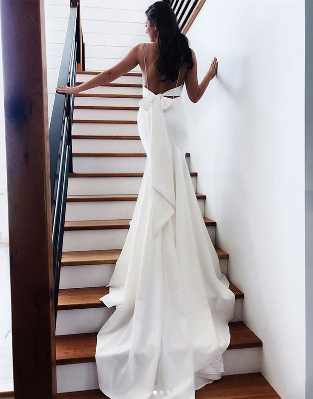 White chiffon mermaid long prom dress, white evening dress