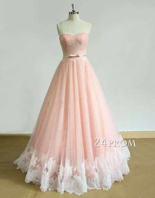 Custom made sweetheart tulle lace long pink prom dress, pink tulle formal dress