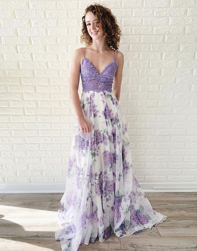Purple tulle lace long prom dress, evening dress