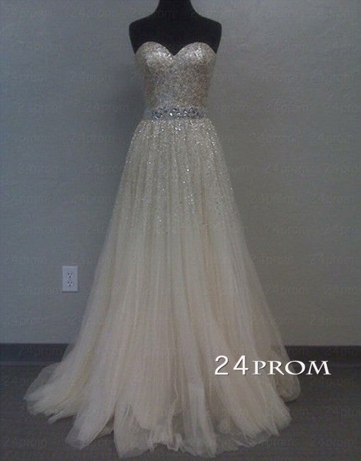 Pretty White A-line Tulle Long Prom Dresses, Formal Dresses