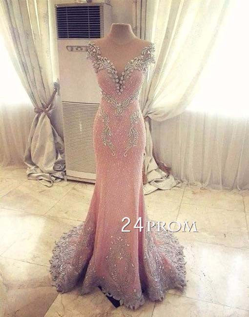 Custom made pink round neck beaded long prom dress, formal dress