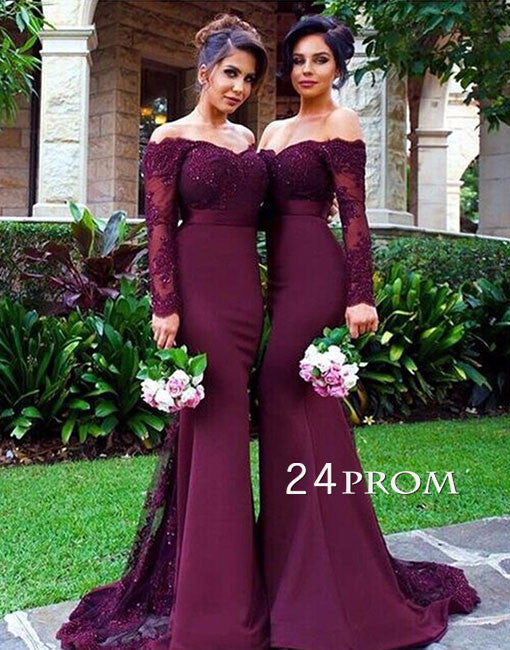 Burgundy lace mermaid long prom dress, burgundy bridesmaid dress