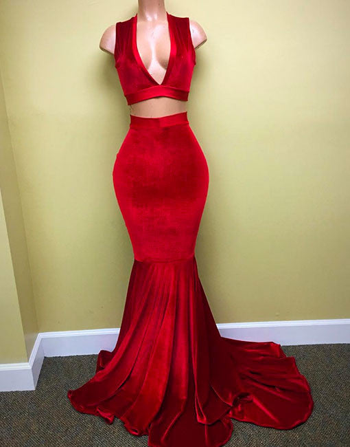 Red Velvet Mermaid Prom Dresses