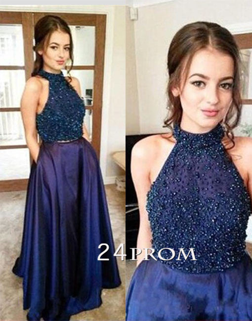 Custom made dark blue two pieces beaded sequin long prom dress, evening dress