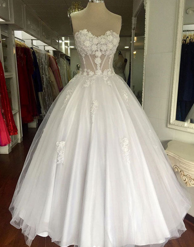 White sweetheart tulle lace long prom dress, white evening dress