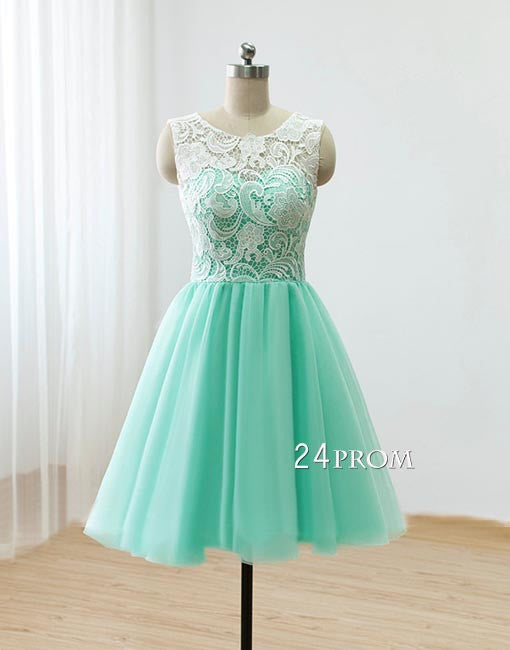 Cute Round neck lace tulle short green prom dress, bridesmaid dress