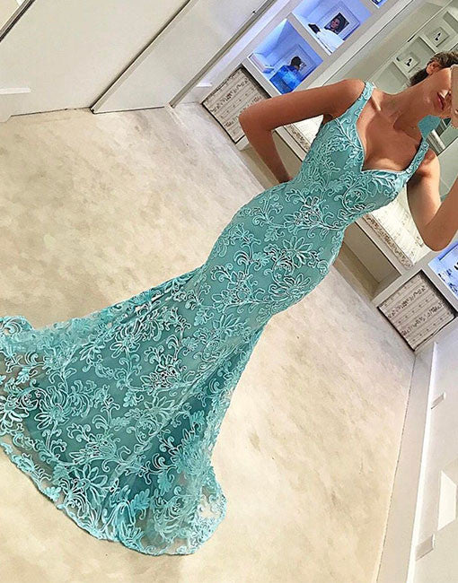 Green lace mermaid long prom dress, green evening dress