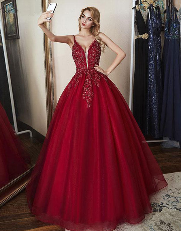 Burgundy sweetheart tulle lace long prom dress, burgundy evening dress