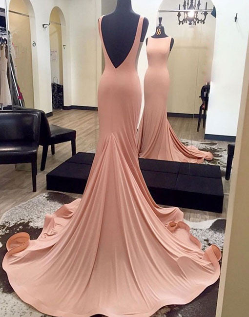 Pink Backless mermaid long prom dress for teens, pink evening dress