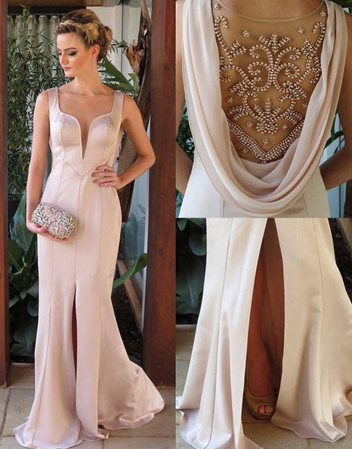 Unique beads round neck long prom dress, evening dress