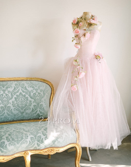 Simple sweetheart neck tulle light pink prom dress, pink evening dress
