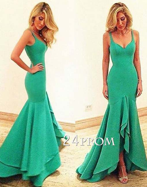 Simple green mermaid long prom dress, unique evening dress