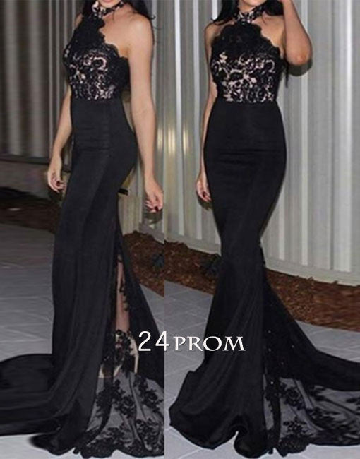 Unique black lace mermaid long prom dress, black evening dress
