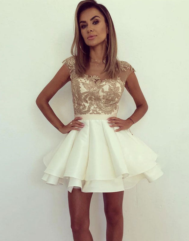 Cute white lace short prom dress, white lace homecoming dress