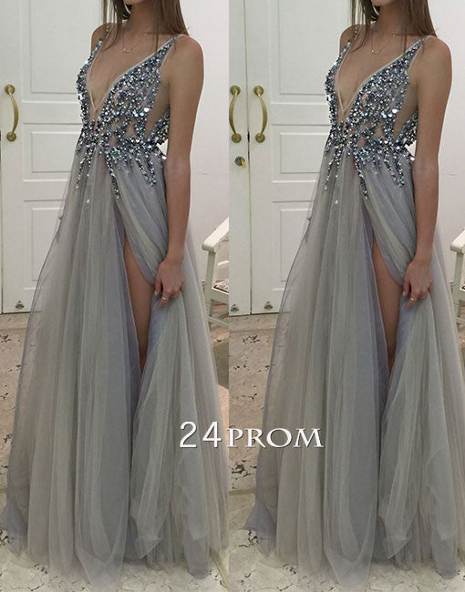 Gray A-line v neck tulle long prom dress, evening dress