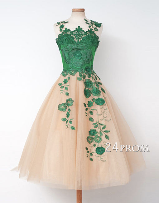 Green A-line tulle short prom dress, homecoming dress