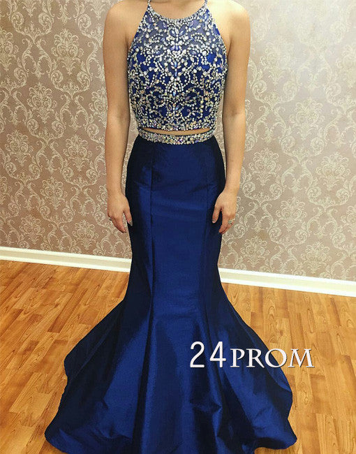 Blue round neck two pieces sequin long prom dress, formal dress