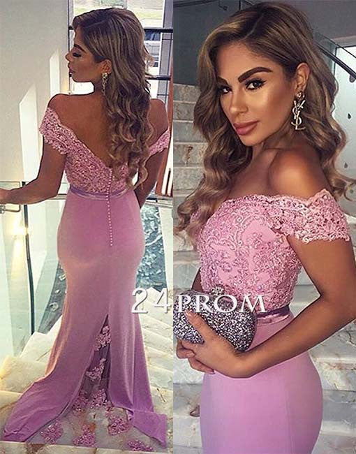 Lilac Chiffon Lace Sweetheart mermaid Long Prom Dresses, Bridesmaid Dress