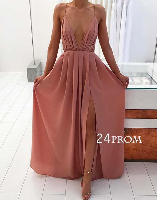 Simple A-line backless chiffon long prom dress, evening dress