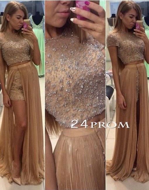 Custom made champagne round neck 2 pieces sequin long prom dress,evening dress