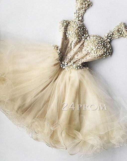 Champagne tulle rhinestones short prom dress, homecoming dress