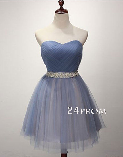 Blue sweetheart neck tulle short homecoming dress, bridesmaid dress