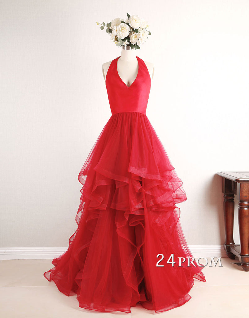 Red v neck tulle long prom dress, red formal dress