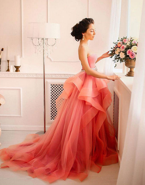 Orange sweetheart tulle long prom dress, wedding dress