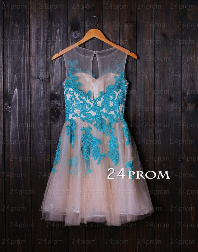 Charming A-line Blue Lace Homecoming Dresses, Blue Prom Dress, Prom Dresses