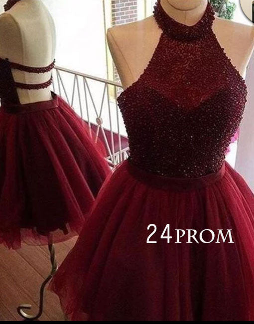 Burgundy tulle sequin short prom dress, cute homecoming dress