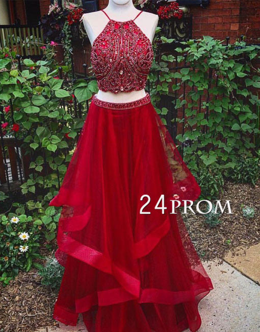 Custom made red two pieces sequin long prom dress, evening dress