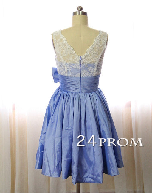 Lace Ball Gown Short Bridesmaid Dress, Prom Dress