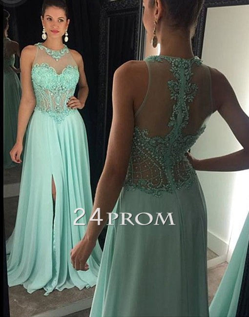 Green A-line High Neck Beaded Chiffon Long Prom Dress, Formal Dress