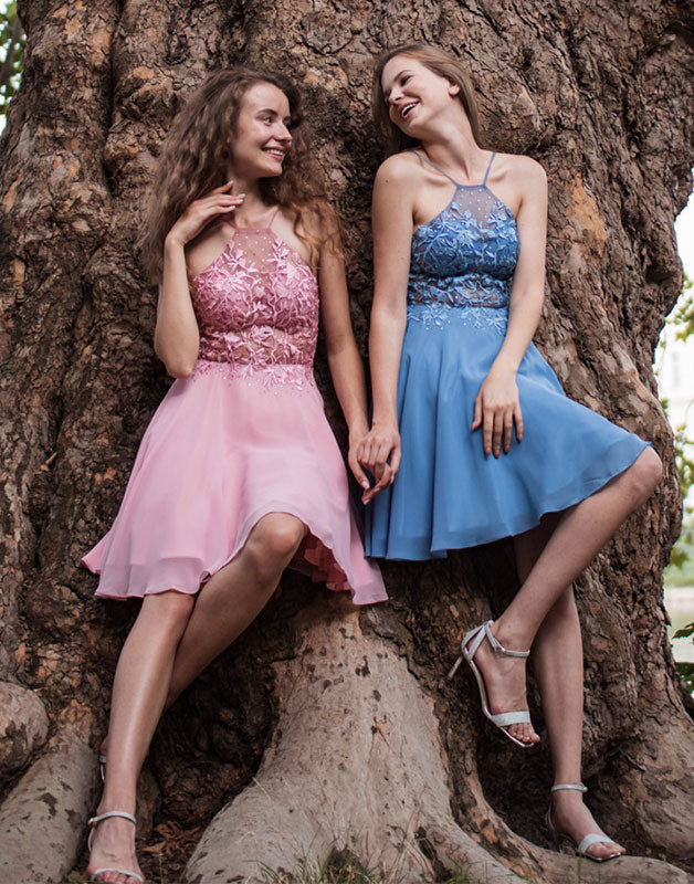 Cute tulle lace short prom dress tulle lace homecoming dress